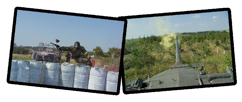 Paintballer jumping barrels