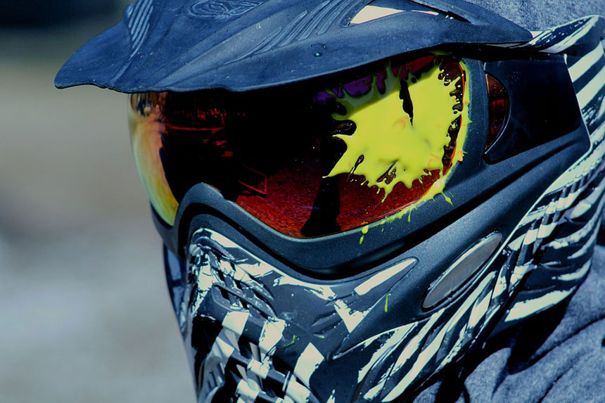 Paintball splat on helmet.
