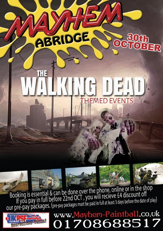 Walking Dead Painitball Scenario Day Flyer